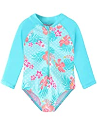TFJH E Girls Long Sleeve Swimsuits UPF 50+ Swimwear Rash Guard Bathing Suit Zip, Cyan Flower 116/122