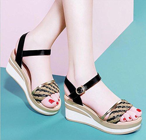 Femeninos Cómodos Tamaño Zapatos Plataforma Sandalias Fafz Tacón 39 Moda Planas De color Salvajes A A Señoras Verano Cuña sandalias WanY00Iwq