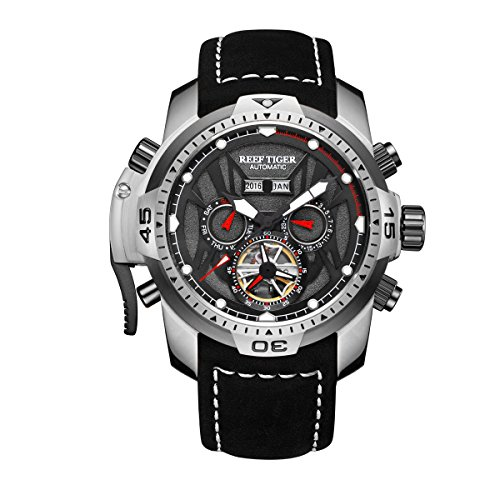 (Reef Tiger Mens Sport Watches Stainless Steel Automatic Watch Military Watches Leather Strap RGA3532 (RGA3532-YBBLR))