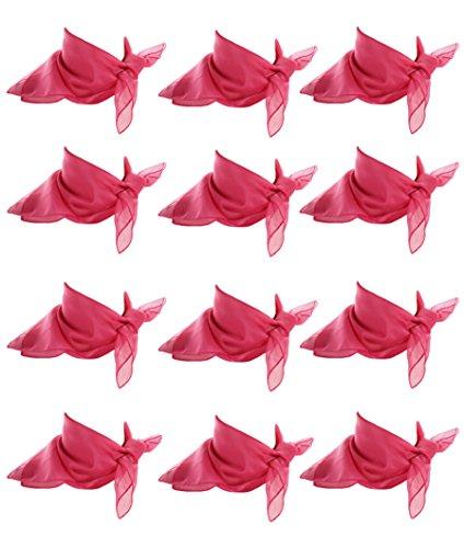 Dance Team Costume Resale (12 Rose Pink Scarves - Sheer Chiffon Square Scarf Dozen Lot - 50s Retro Style)