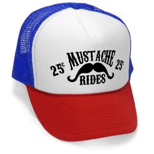 MUSTACHE RIDES - funny joke party gag Mesh Trucker Cap Hat, RWB