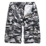 Realdo Men's Camouflage Shorts, Casual Outdoors Pocket Beach Work Trouser Cargo Pants(Grey,28)
