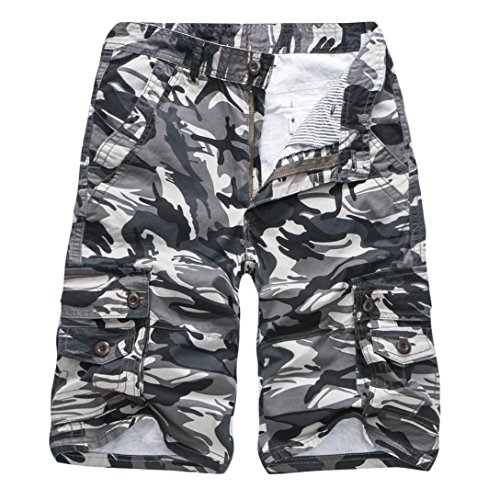 Realdo Men's Camouflage Shorts, Casual Outdoors Pocket Beach Work Trouser Cargo Pants(Grey,28) by Realdo