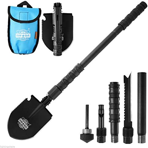 Outdoor Hiking Military Survival Shovel, Folding Tactical Spade Shovel Multitool Emergency Survival Shovel for Car with Detachable Silver Aluminium Handle, Collapsible Steel Backcountry Camping Shovel