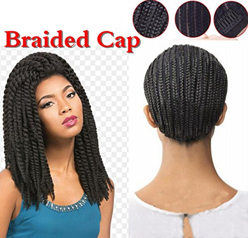 [Geelife Cornrow Braided Crochet Wig Caps with a Adjustable Strap for Sewing Wig & Hair Weft] (Cornrow Wigs)