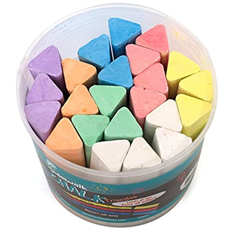 Non-Toxic Jumbo Sidewalk Chalk - 23 Triangular Pieces, Won't Roll Away, Works Well On Chalkboard Paint, Concrete, Asphalt and (Toddler Non Toxic Paint)