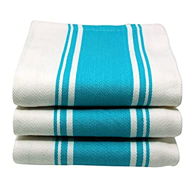 Kitchen Dish Tea Towels By Cucinare 100% Cotton, Professional Grade, Large Absorbent with Vintage Striped Tea Towel, Set of 3 or 6 (Size 20 x 28 ) (3, Blue)