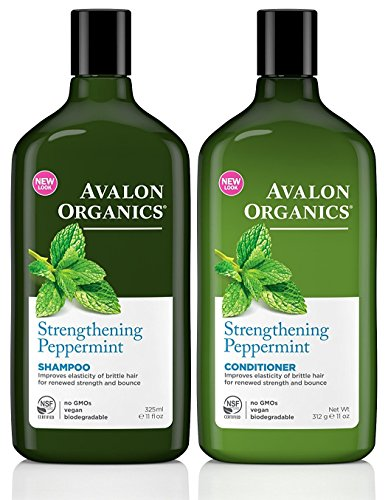 Avalon Organics Body Shampoo (Avalon Organics Strengthening Peppermint Shampoo and Conditioner Set, 11 Ounce Each)