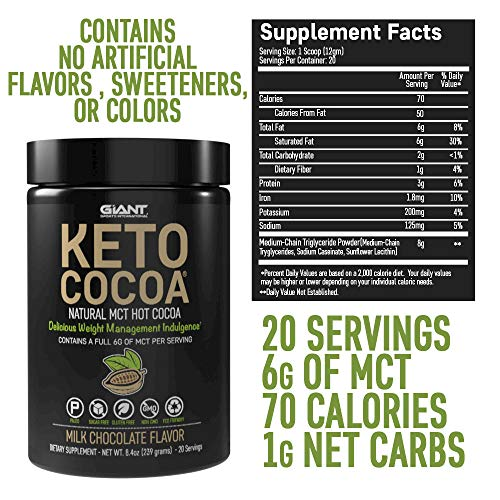 Keto Cocoa - Delicious Sugar Free Hot Chocolate Mix with 6g of MCTs for Appetite Suppressing Ketogenic Diet and Low Carb Lifestyle | No Gluten | 20 Servings 5