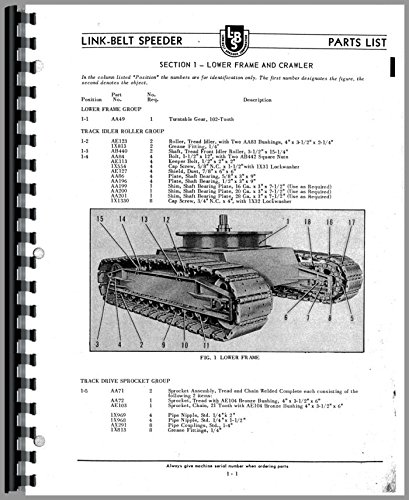 Link Belt Speeder LS-85 Drag Link or Crane Parts Manual