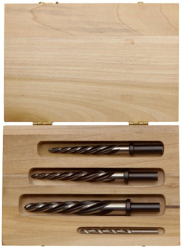 Alvord Polk 650-S-03 High-Speed Steel Construction Taper Reamer Set, Helical Flute, Round Shank with Taper Shank Adapter, Uncoated Finish, 4-Piece (1/2 Inch, 5/8 Inch, 3/4 Inch, 1 Inch) in Wood Case by Alvord Polk