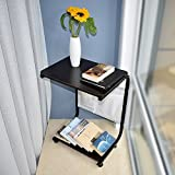 Indoor Multi-Function Accent Table Study Computer Home Office Desk Bedroom Living Room Modern Style End Table Sofa Side Table Coffee Table Black side table