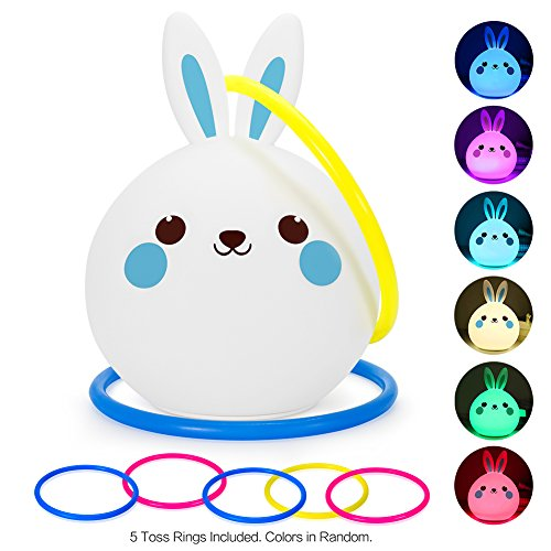 Kids Bunny Night Light Toss Game Set, Portable Touch Sensor Color-Changing LED Rabbit Lamp + 5 Ring Quoits, Double Fun for Bedside Décor, Baby Shower, Birthday Party, Picnics, BBQs, Garden Playtime (Halloween Outdoor Games For Kids)