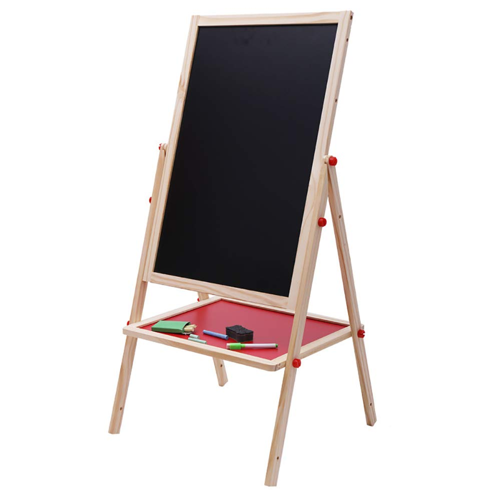 ROCKION Double-Sided Magnetic Kids Chalkboard Easel,Adjustable Drawing Board for Toddler with Bonus Magnetic Letters, Numbers and Accessories (Wooden)