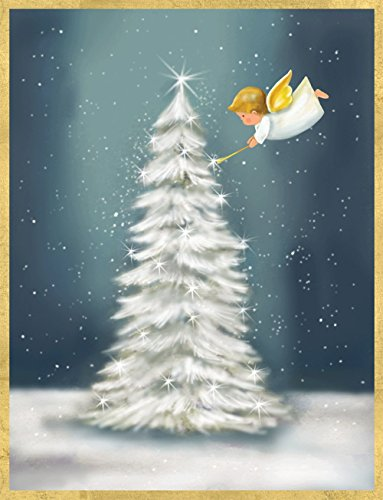 Entertaining with Caspari Angel Lighting Snowy Tree Christmas Cards (Box of 16) by Entertaining with Caspari