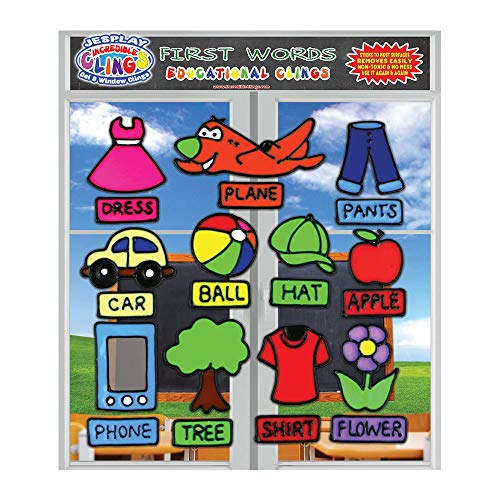 First Words Flexible Gel Clings - Reusable and Removable Glass Window Clings for Kids and Toddlers - Pictures and Matching Name Gel Decals for Home, Airplane, Classroom, Nursery Decoration