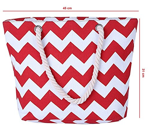 Beach GetThatBag© Chevron Chevron Red Tote Womens Canvas Red Bright Shopper Handbag Large wIIqrz