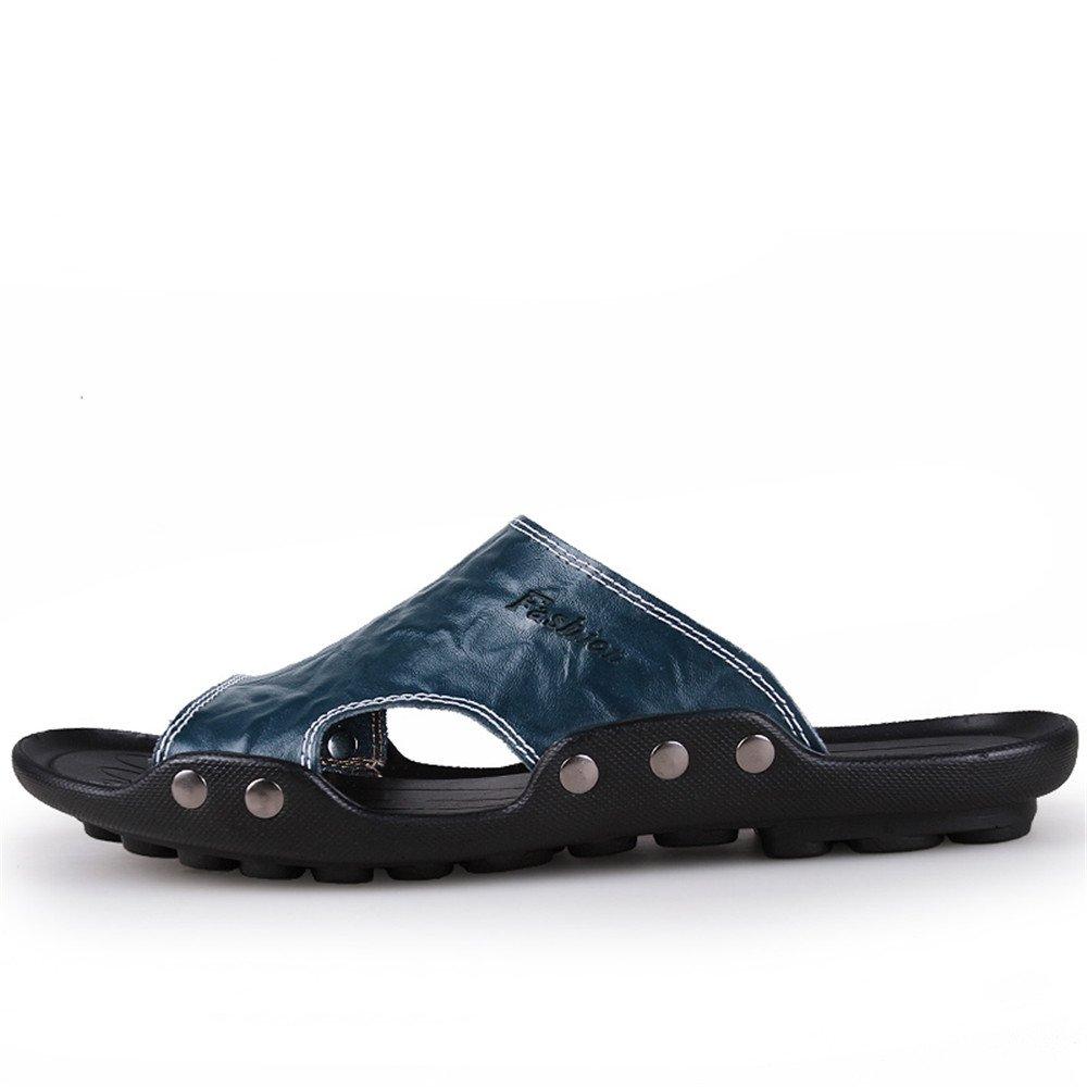 Herren Casual Echtes Rindsleder Strand Hausschuhe Casual Herren Sandalen Rutschfeste Sohle Schuhe,für Männer Blau 99032e