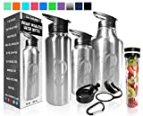 64 oz stainless steel flask - Live Infinitely Double Walled Vacuum Insulated Water Bottles –30, 40 or 64oz 18/8 Food Safe Stainless Steel- Includes Flip Top & Wide Mouth Lid, (Stainless Steel With Etched Logo, 64 Ounce)