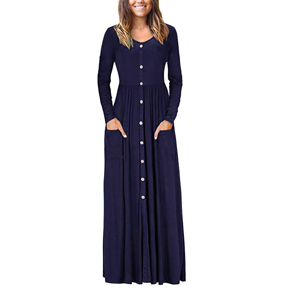Clearance ShenPr Women's Long Sleeve Loose Plain Maxi Dresses Casual Long Dresses with Pockets