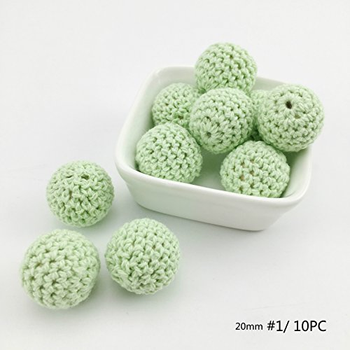 baby love home 20mm 10PC Crochet Round Wooden Beads Candy Green DIY Beads Handmade Wooden Teether Baby Teether Toys Nursing Jewelry Accessories Gift