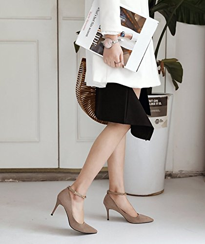 Mouth Bridesmaid A High MDRW Spring Lady Work Heels Buckle Shallow Elegant Leisure Khaki Shoes 8Cm With Fine 37 Shoes A qxqU6w