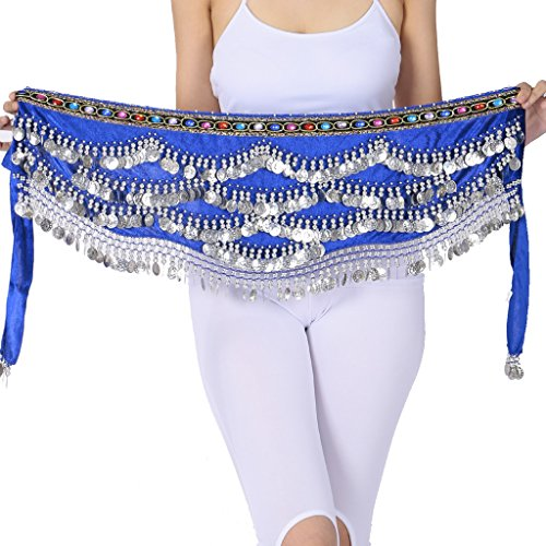Belly Dance Wave Shape Hip Scarf With Silver Coins & Color Diamend Dark Blue