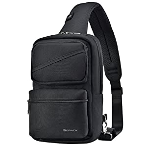 Kopack Sling Bag Large W/Card Slot/Anti-theft Pocket/Padded Strap Crossbody Pack One Strap Backpack Water Resistant Chest Bag Men Black
