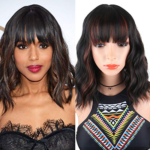 SCENTW Fashion Short Wavy Wigs With Flat Bangs Black Mixed Brown Synthetic Full Wigs For Women None Lace Wigs That Look Real Heat Resistant +Free Wig Cap (Black Mix Brown)