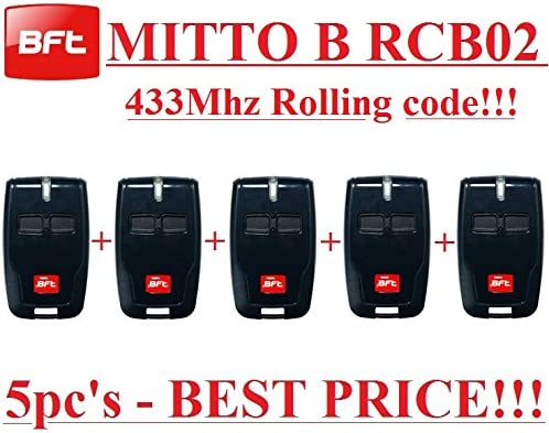 5 transmisores BFT B RCB02 de alta calidad. c/ódigo variable de 433,92/Mhz 5 mandos a distancia BFT Mitto B RCB02 R1 de dos canales