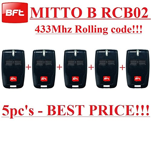 5 X BFT Mitto B RCB02 R1 2-channel remote controls, 433,92Mhz Rolling code, The New Version of BFT Mitto2. 5 Top quality BFT B RCB02 transmitters for THE BEST PRICE!!!