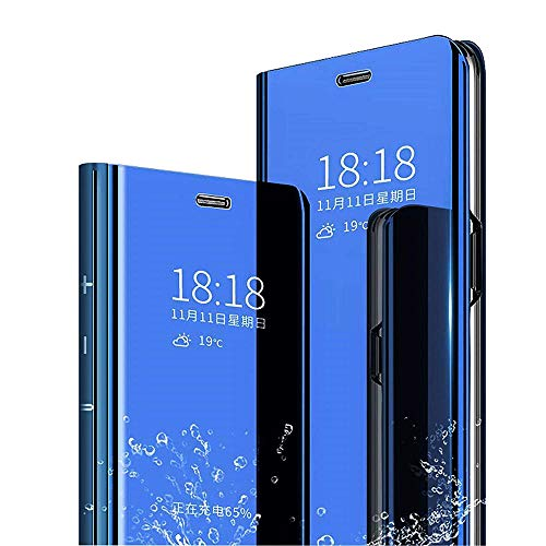 Case for Huawei Mate10 Pro case, Slim Folio Leather Huawei Mate10 pro case Flip Cover Plating Stand Translucent Window Sleep (Mate10 pro, Blue Mirror Pu)