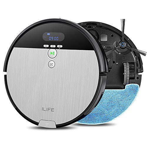 ILIFE V8s Robot Vacuum Cleaner and Mop Combo, XL 750ml Dustbin, Designed for Hard Floors & Pet Hair,Self-Adjustable Suction Nozzle, Tangle-Free Design, Slim & Quiet, Self-Charging (Best Vacuum And Steam Mop Combo)