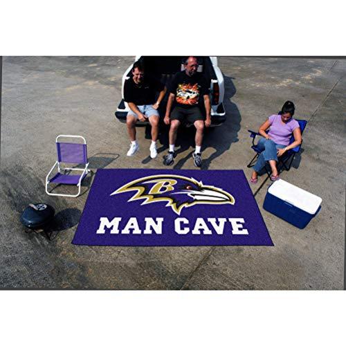 5'x8' NFL Ravens Mat Sports Football Area Rug Team Logo Printed Large Mat Floor Carpet Bedroom Living Room Tailgate Man Cave Home Decor Athletic Game Fans Gift Non-Skid Backing Soft Nylon, Purple ()