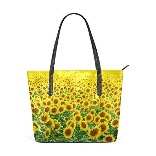 COOSUN Campo de girasoles PU hombro del bolso bolsos y bolsas de mano para las mujeres Medio multicolor