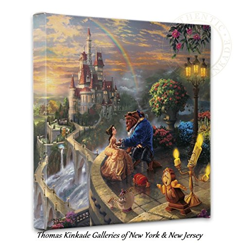 Thomas Kinkade Beauty and the Beast Falling in Love 14x14 Canvas Wrap (Beauty And The Beast Painting)