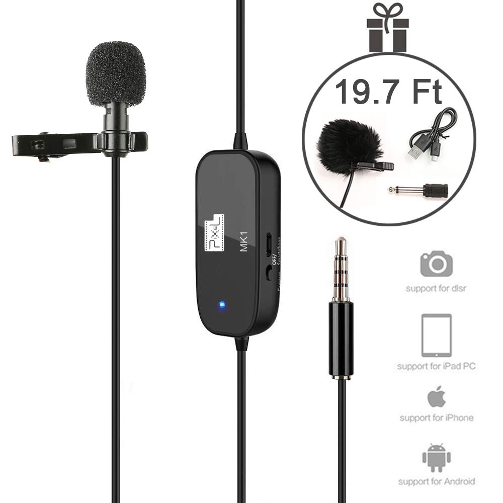 Lavalier Lapel Microphone 236'' Professional Grade Clip On Omnidirectional Pick Up Pattern for Flexible Low Handling Noise Mic with Accurate Voice Recording for Phone/Camera/Audio devices (Black)