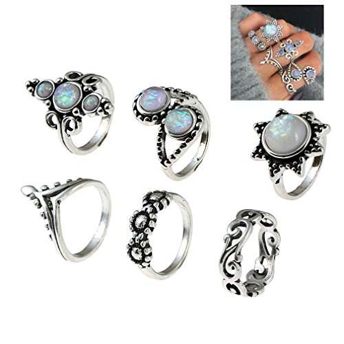 Gothic Silver Rings (SUNSCSC Retro Vintage Multilayers Crystal Above Knuckle Ring Band Midi Ring Set of 6 Pcs (New style W702))