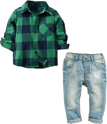 Suncaya Conjunto de Bebés Juego de Ropa Camisa a Cuadros y Pantalones de Jeans Conjunto para Bebé Niño: Amazon.es: Ropa y accesorios