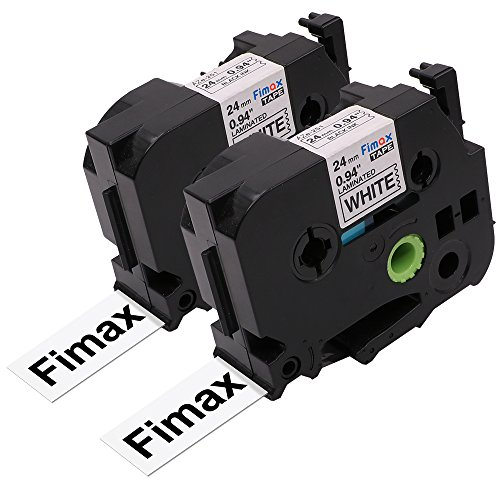 Fimax 2 Packs Standard Laminated Label Tapes Compatible For Brother P-Touch TZe-251 TZ251 TZe251 Black on White 0.94 Inches 26.2ft (24mm/8m)