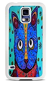 Mexican Art Cat Blue White Silicone Case for Samsung Galaxy S5