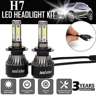 72W 7200lm 2 Sides COB LED Headlight Kits 9006 HB4 High Low Beam 6000K Bulbs 12V