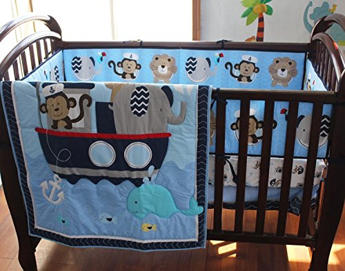 NAUGHTYBOSS Baby Bedding Set Cotton 3D Embroidery Monkey Elephant Navigation Blue Sea Whale Quilt Bumper Mattress Cover 7 Pieces Set Blue Color