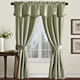 Cheap United Curtain Burlington Blackout Window Curtain Five Piece Panel Set, 52 by 84-Inch, Green
