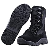 FREE SOLDIER Men's Tactical Boots 8'' inch Lightweight Combat Boots All Terrain Suede Leather Military Work Boots (Black, 8 US)