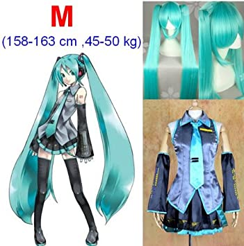 VOCALOID,Hatsune Miku Cosplay Traje+120cm peluca, tamaño M (altura 158-163 cm, peso 45-50 kg)
