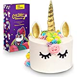 FZR Legend 3D Gold Unicorn Cake Topper with Eyelashes,Horn and Ears,Unicorn Party