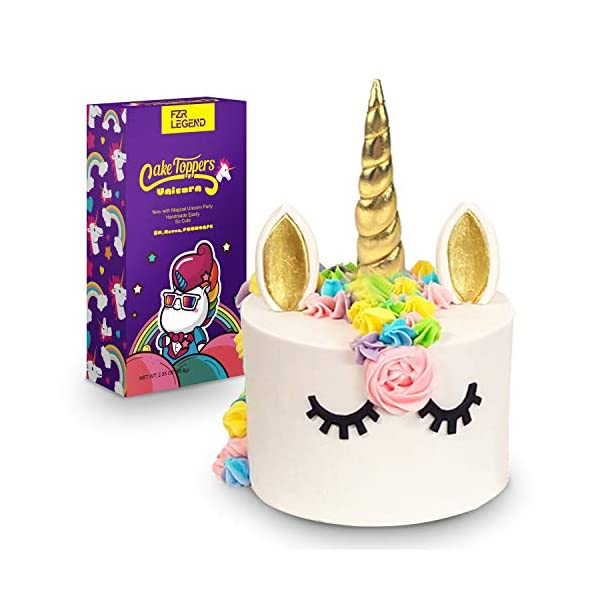 FZR Legend 3D Gold Unicorn Cake Topper with Eyelashes,Horn and Ears,Unicorn Party Supplies for Girls Boys Birthday Party… 3