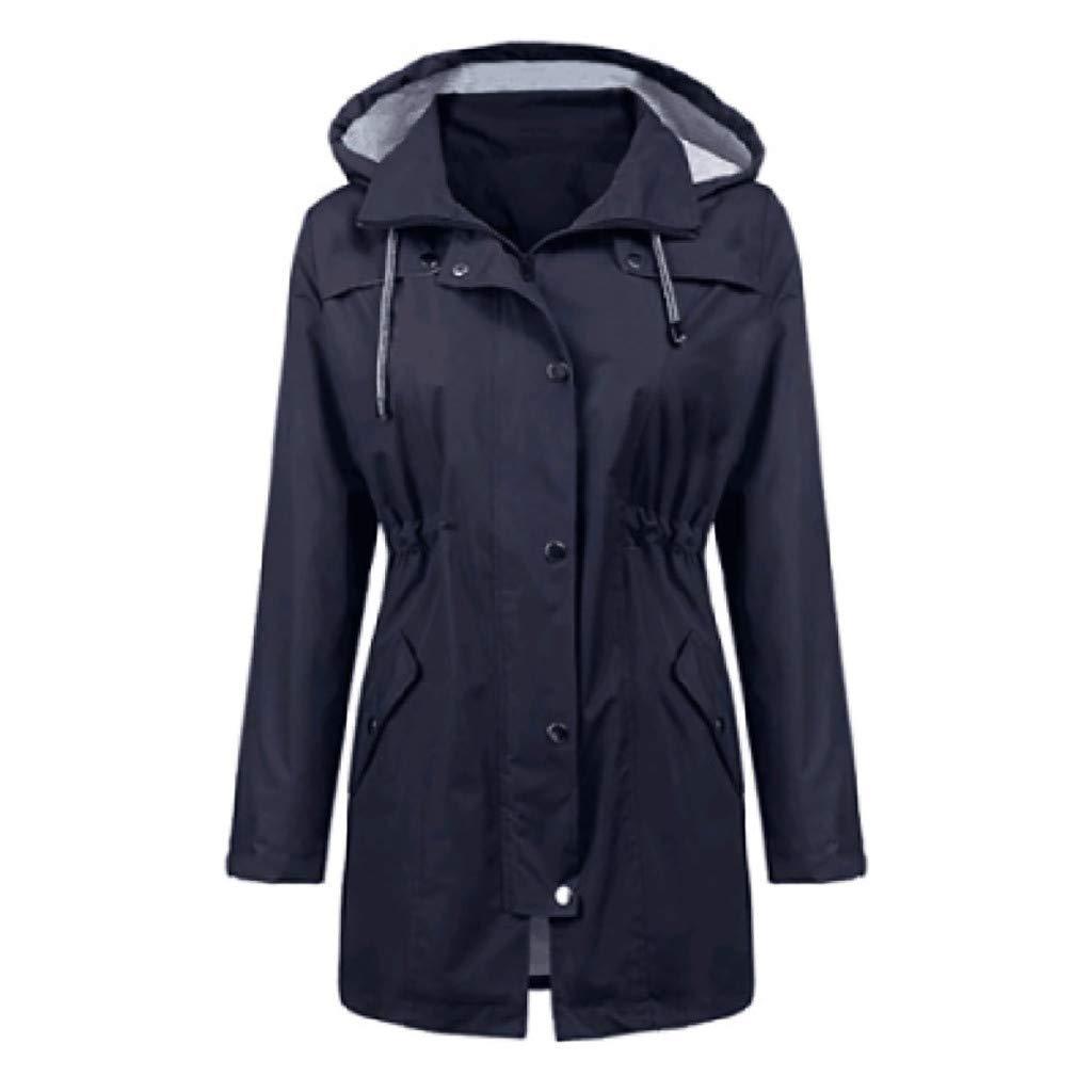 Shusuen Raincoat Women Waterproof Long Hooded Trench Coats Lined Windbreaker Travel Jacket Navy by Shusuen_Clothes