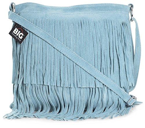 Size ASHLEY Large Shoulder Suede Womens Bag LIATALIA Baby Leather Tassle Blue Fringe ZHfUx6wq